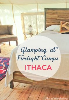 Firelight Camps in Ithaca make for a perfect Upstate New York getaway.  Enjoy s'mores roasted over an open fire, wine tasting, and plenty of outdoor activities.