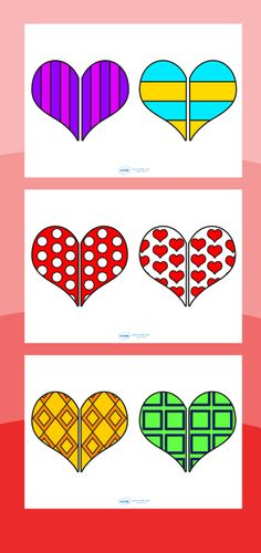 Valentine Heart pattern matching game printable  http://www.twinkl.co.uk/resources/festivals-and-cultural-celebrations/valentines-day/valentines-day-activities-and-games games, kids, fun, activity