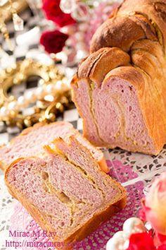Purple Sweet Potato × Sweet Potato Braided Loaf Bread 紫芋×薩摩芋のねじり巻きあん食パン