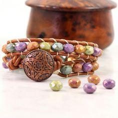 Jewel Tone Wrap Bracelet Purple Green Blue by AbacusBeadCreations