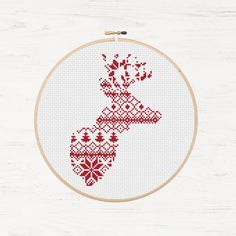 Nordic Cross Stitch Pattern Christmas Reindeer Pattern Printable Deer Instant Download PDF Scandinavian Modern Cross Stitch Holiday DIY Gift