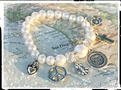 US Navy pearl charm bracelet by Son and Sea FREE US shipping