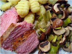 Küchenträume: Kalbskotelett mit Lauch - Champignon - Gemüse und Gnocci