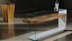 Aparador Kalena, Tampo e Lateral de Vidro, Madeira de Demolição, MDF Laqueado. Medidas: 180cm x 75,5cm x 40cm. http://www.moradamoveis.com/