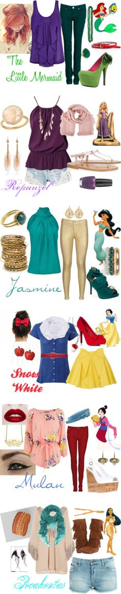 """Disney Princess Fashion"" by roxycn on Polyvore. I'm in LOVE with the Rapunzel and Jasmine look!!!!!!!!!"