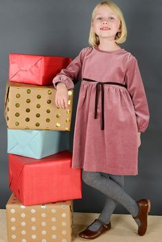 Holiday Classic Tie Dress in Rose Velvet | Olive Juice #Holidaydress #girlsfashion