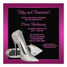 Elegant black and hot pink glitter high heel shoes woman's birthday party invitation. This beautiful black and hot pink birthday party invitation is easily customized for your event by adding your event details, font style, font size & color, and wording. Glitter Birthday Parties, 50th Birthday Party Invitations, Elegant Birthday Party, Birthday Invitation Templates, Pink Birthday, 50th Party, 21st Birthday, Birthday Stuff, Birthday Themes For Adults