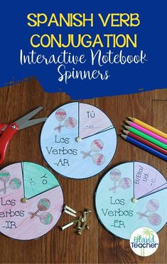 Use these Spanish verb conjugation spinners as an addition to an interactive notebook or as a stand alone study tool to practice -AR, -ER, and -IR verb endings or conjugations of any verb in any tense. Students cut out the circles, add required information, and attach the circles together using brass fasteners. Included in the set are 8 different spinners. 4 spinners include vosotros in the template and 4 omit vosotros so that these can be used with any curriculum.