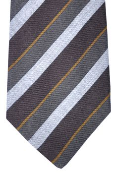 Kiton Sevenfold Tie Brown Gray Mustard Stripes