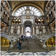 Belgium: Antwerp.  Gare Central (Central Station) in Antwerp is beautiful inside and out.  It's surprising that it is a railroad station.  (I guess that's the sentiment of those who travel through Grand Central Terminal/Station in New York City.  It, too, is a beautiful structure.)