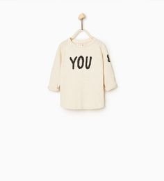 """""""YOU & ME"""" TOP from Zara COLOR: Mid-ecru 2-3 YEARS (38.6 INCHES) Round neck top with long turn-up sleeves and print detail. Front and back print OUTER SHELL  100% cotton"""
