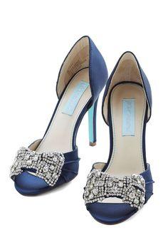 Betsey Johnson Dancing Gleam Heel in Navy Blue by Betsey Johnson - Mid, Satin, Mixed Media, Blue, Bows, Rhinestones, Special Occasion, Weddi...
