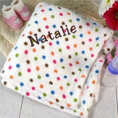 Keep your little one snug as a bug in a rug during nap time when you wrap them in this warm and cozy fleece embroidered blanket.#embroideredgifts #babygifts #personalizedgifts