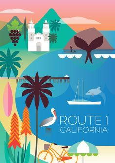 ROUTE 1 CALIFORNIA POSTER #vintagetravelposters