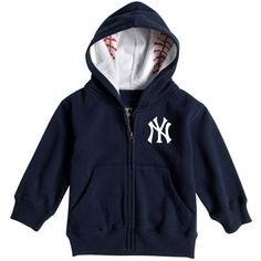 b6e49f15c Toddler New York Yankees Soft As A Grape Navy Baseball Print Full-Zip Hoodie