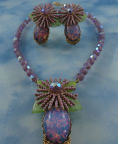Signed Stanley Hagler N.Y.C. Amethyst Fire Opal Necklace And Earring Set