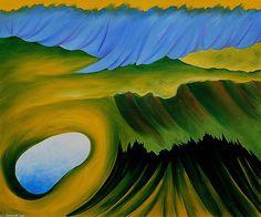 montañas y lago de Georgia O'keeffe (1887-1986, U.S.)