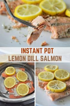 Instant Pot Lemon Dill Salmon cooked to perfection in the pressure cooker! It's easy to make for weeknight dinners and turns out super moist and flavorful. Delicious with steamed rice or mashed potatoes! #fish #pressurecookerrecipes #weeknightdinners #easyrecipes Salmon Recipes, Fish Recipes, Seafood Recipes, Recipies, Lemon Dill Salmon, Healty Dinner, Best Instant Pot Recipe, Quick Recipes, Yummy Recipes