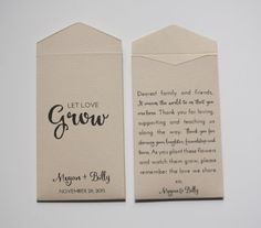 Custom Printed Seed Packet Wedding Favors  Many by Megmichelle; comes in many different colors! #customweddingfavor #weddingfavor