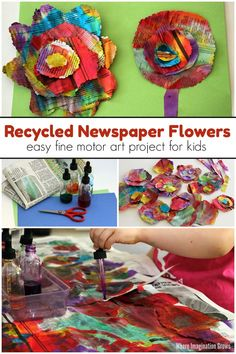 Easy watercolor & recycled newspaper flower craft for toddlers and preschoolers. A perfect spring-themed activity that is also an open-ended art project for kids! Teachers color mixing and develops fine motor skills in a hands-on way! Recycled Crafts Kids, Recycled Art Projects, Recycled Materials, Recycle Newspaper, Newspaper Crafts, Recycle Art, Toddler Art, Toddler Crafts, Spring Crafts For Kids