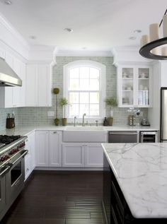 white kitchen fiorella design -painting soffits to visually create taller cabinets Kitchen Soffit, White Kitchen Cabinets, Kitchen Redo, Kitchen Countertops, New Kitchen, Kitchen Remodel, Kitchen Dining, Marble Countertops, Calacatta Marble