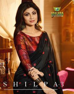 Sanskar Tex Prints Shilpa Vol 3 Blouse Designs High Neck, Designer Blouse Patterns, Fancy Blouse Designs, Pattu Saree Blouse Designs, Stylish Sarees, Trendy Sarees, Saree Trends, Party Wear Sarees, Saree Designs Party Wear