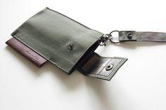iPhone 帆布79 キャリングケース@staana-shop / オリーブ=撥水帆布(79号)  ブロンズ=内側(合成皮革)  ブラウン=革  ブラック=金具