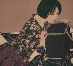 Iikenaga Yasunari - Japanese Illustration - Nihonga Style - Emiko