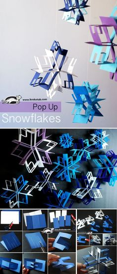 Pop Up snowflakes paper craft for kids Kirigami, Christmas Art, Winter Christmas, Christmas Decorations, Winter Fun, Christmas Snowflakes, Art For Kids, Crafts For Kids, Arts And Crafts