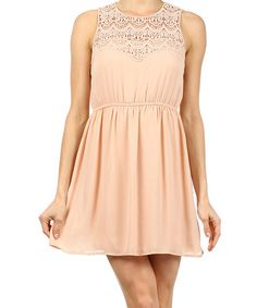 Love this Nude Crocheted Neck Sleeveless Dress by Ellen Clothing on #zulily! #zulilyfinds