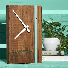 "DIY ""renew"" tall clock from upcycled wood block $70"