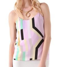 TIBI HOST PICKmulti-pastel printed Silk Cami TIBI bold geometric pattern enlivens this draped silk camisole. Spaghetti Straps. Lined.    Length: 25in/61cm from shoulder. Fabric: Silk Crepe. Shell: 100% Silk. Lining: 100% Polyester Tibi Tops Camisoles