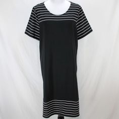 42da0448e1  DenimDress Denim  amp  Company Dress XL Black White Short Sleeve Cotton  Blend Knit Shift