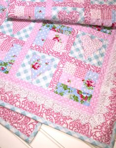 Sweet heart baby girl quilt lace baby quilt by ChristineJDesigns