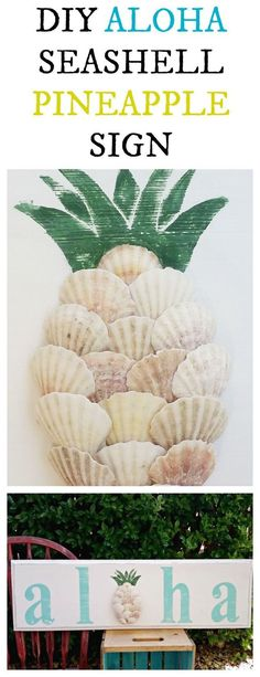 thrift store upcycle diy aloha seashell pineapple sign is part of Diy beach decor - Thrift Store Upcycle DIY Aloha Seashell Pineapple Sign Beachart DIY Seashell Art, Seashell Crafts, Beach Crafts, Summer Crafts, Crafts With Seashells, Upcycled Crafts, Diy And Crafts, Seashell Projects, Driftwood Projects