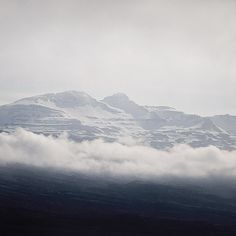 Mountain Landscape Photography, Iceland, Blue, White, Clouds, Winter Snow, Clouds Print, Arctic Nature, Grey, Silver - Head in the Clouds
