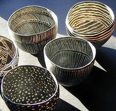 Black and white bowls by Pracilla Mouritzen