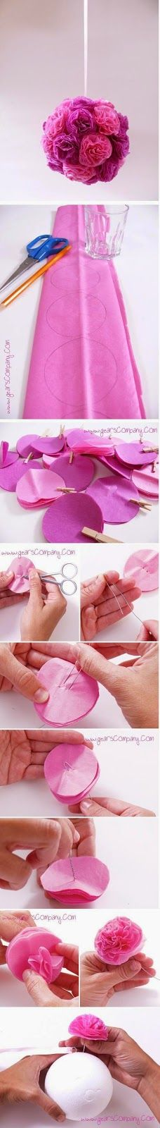 floral flower pom hanging decor DIY from tranquility du jour blog by Bead and Cord