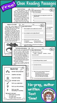 Engaging, no prep close reading passages with text dependent questions! Written by a published nonfiction children's author. Reading Comprehension Passages, Comprehension Activities, Reading Fluency, Reading Strategies, Teaching Reading, Guided Reading, Leveled Reading Passages, Learning, Reading Activities