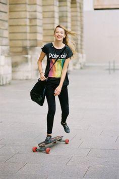 denim jeans, model off duty, model skateboarding, Paris Fashion Week SS 2014, Paris street style, polaroid, Polaroid tee, print tee, skateboard, skateboarding