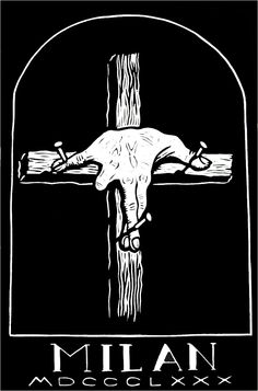 The Crucifixion of Sign Language linocut