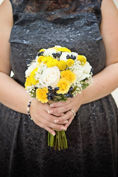 Yellow and Navy Wedding Bouquet