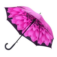 A double canopy umbrella with pink outer skin and floral dahlia inner skin