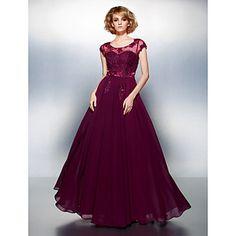 A-line Scoop Floor-length Chiffon Evening Dress – USD $ 129.99