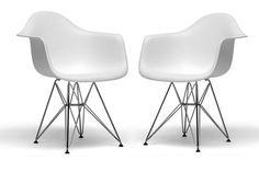 Dario White Plastic Chair Open-Box| Chicago Furniture