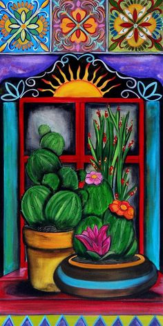 Canvas Giclee (reprint on Canvas) High Quality color Giclee on canvas wrapped on wood bars to create a beautiful reproduction of an Mexican Artwork, Mexican Paintings, Mexican Folk Art, Mexican Artists, Cactus Painting, Cactus Art, Cactus Plants, Buy Cactus, Cactus Decor