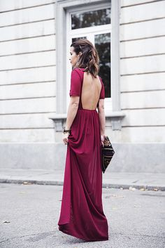 open back red long dress