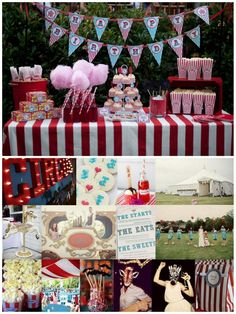 Carnival Wedding, Circus Theme Red and Blue Wedding, Reception Inspiration Board.