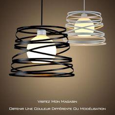 LoDo® Nordic Fer PERSONNALITE créative lustre salon moderne lampshade salle à manger de chambre den Ø32cm Noir - Achat / Vente Art Fer Lustre Ø32cm Noir*1 - Cdiscount