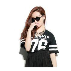 T shirt Crop Top Brooklyn Femme 76 New York Baseball